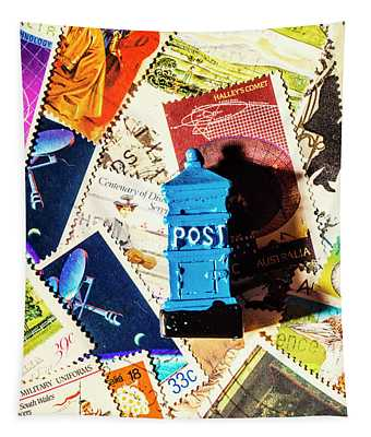 True Blue Postbox Tapestry