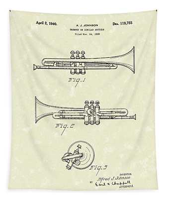 Trumpet 1940 Patent Art Tapestry