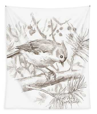 Tufted Titmouse Tapestry