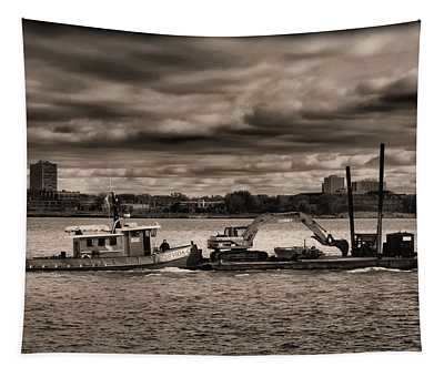 Tugboat And Ominous Sky Tapestry