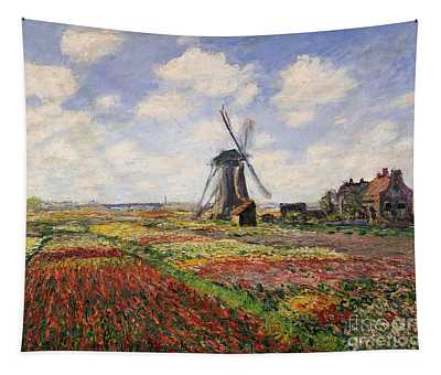 Tulip Fields With The Rijnsburg Windmill Tapestry