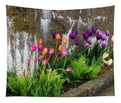 Tulips In Ruin Tapestry