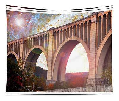 Tunkhannock Viaduct, Nicholson Bridge, Starry Night Fantasy Tapestry