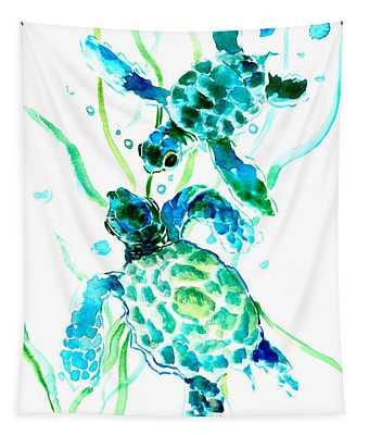 Turquoise Indigo Sea Turtles Tapestry
