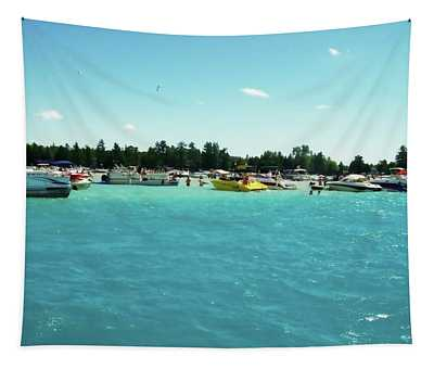 Turquoise Waters At The Torch Lake Sandbar Tapestry