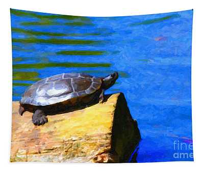 Turtle Basking In The Sun Tapestry