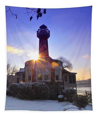 Turtle Rock Light House At Sunrise Tapestry