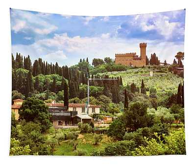 Tuscan Fields And Old Castle In Florence Tapestry