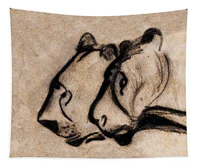 Two Chauvet Cave Lions - Clear Version Tapestry