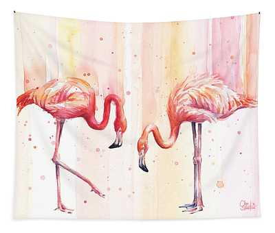 Two Flamingos Watercolor Tapestry