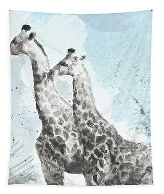 Two Giraffes- Art By Linda Woods Tapestry