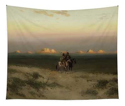 Two Indians In The Utah Desert Tapestry
