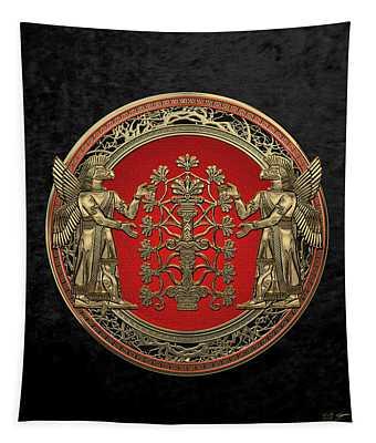 Two Instances Of Gold God Ninurta With Tree Of Life Black Velvet Tapestry