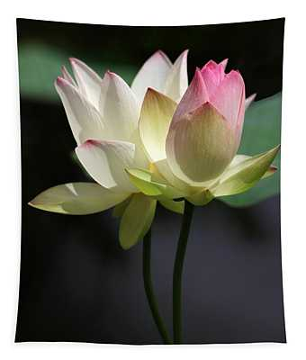 Two Lotus Flowers Tapestry