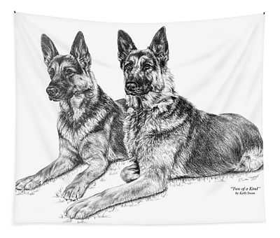 Two Of A Kind - German Shepherd Dogs Print Tapestry