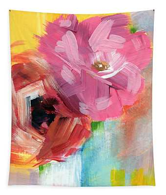 Two Roses- Art By Linda Woods Tapestry