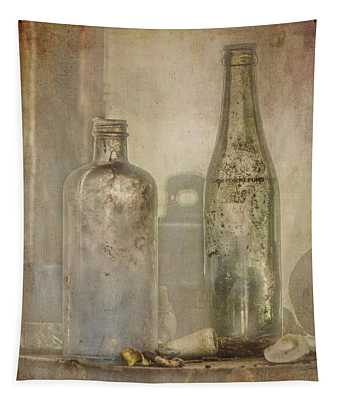 Two Vintage Bottles Tapestry