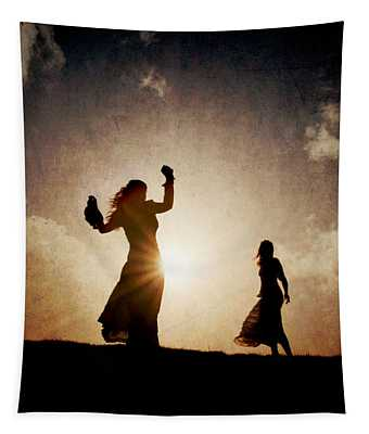 Two Women Dancing At Sunset Tapestry