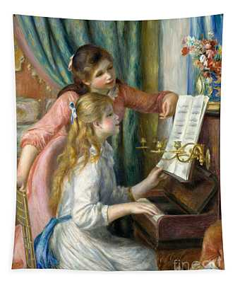 Two Young Girls At The Piano, 1892  Tapestry