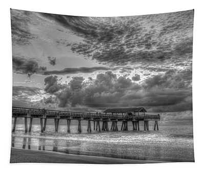 Tybee Island Pier Sunrise Cloud Cover Tapestry