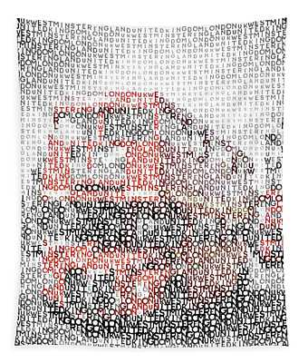 Typographic Art - London Westminster Bridge Buses Tapestry