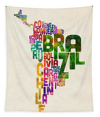 Typography Map Of Central And South America Tapestry