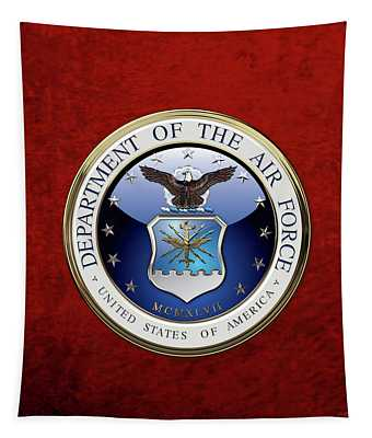 U. S.  Air Force  -  U S A F Emblem Over Red Velvet Tapestry