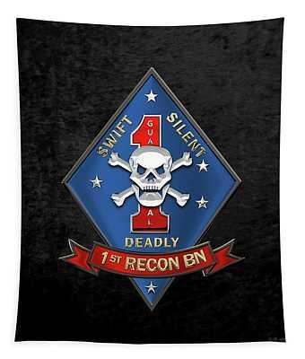 U S M C  1st Reconnaissance Battalion -  1st Recon Bn Insignia Over Black Velvet Tapestry