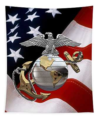 U S M C Eagle Globe And Anchor - C O And Warrant Officer E G A Over U. S. Flag Tapestry