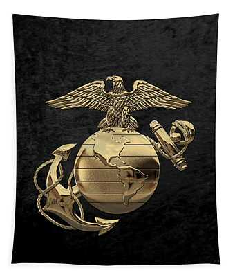 U S M C Eagle Globe And Anchor - N C O And Enlisted E G A Over Black Velvet Tapestry