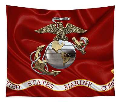 U. S.  Marine Corps - U S M C Eagle Globe And Anchor Over Corps Flag Tapestry