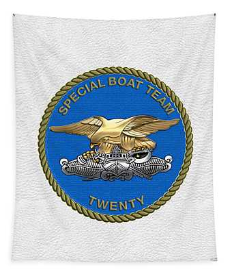 U. S. Navy S W C C - Special Boat Team 20   -  S B T 20   Patch Over White Leather Tapestry