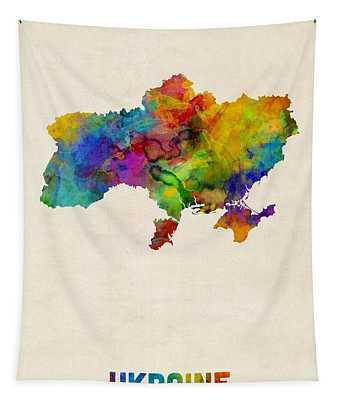 Ukraine Watercolor Map Tapestry