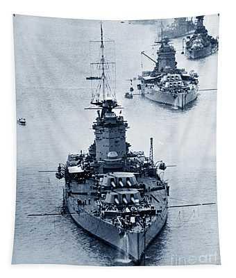 Hms Nelson And Hms Rodney Battleships And Battlecruisers Hms Hood Circa 1941 Tapestry