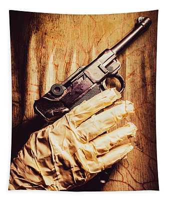 Undead Mummy  Holding Handgun Against Wooden Wall Tapestry