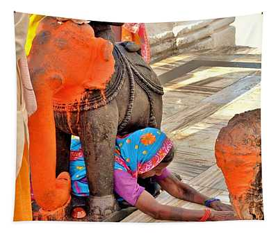 Under The Elephant - Narmada Temple At Arkantak India Tapestry