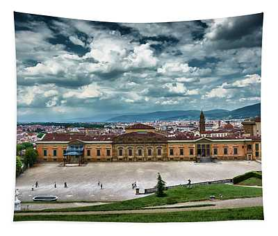 The Meridian Palace And Cityscape In Florence, Italy Tapestry