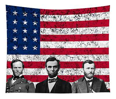 Union Heroes And The American Flag Tapestry