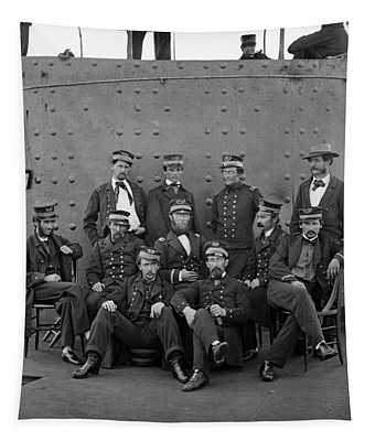 Union Officers On Deck Of The Uss Monitor - 1862 Tapestry