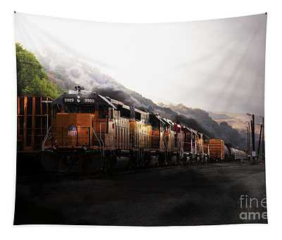 Union Pacific Locomotive At Sunrise . 7d10561 Tapestry