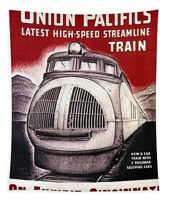 Union Pacific Rail Road - High Speed Train - Vintage Advertising Poster Tapestry