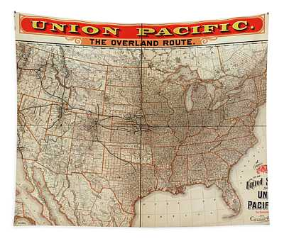 Union Pacific Railroad To The West Coast Map 1892 Tapestry