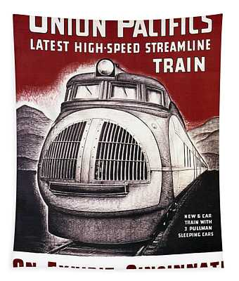 Union Pacific Record-breaking Streamline Train 1934 Tapestry