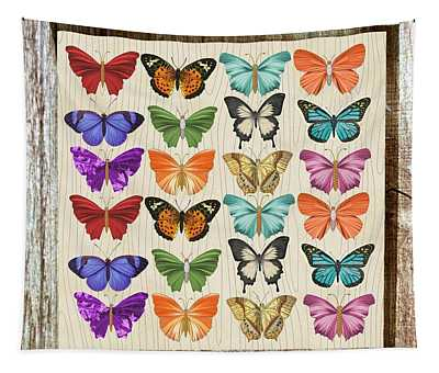 Colourful Butterflies Collage Tapestry