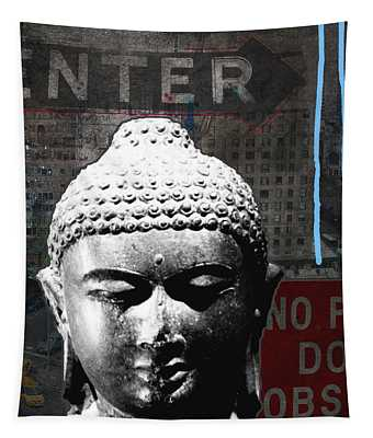 Urban Buddha 4- Art By Linda Woods Tapestry
