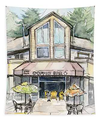 Coffee Shop Watercolor Sketch Tapestry