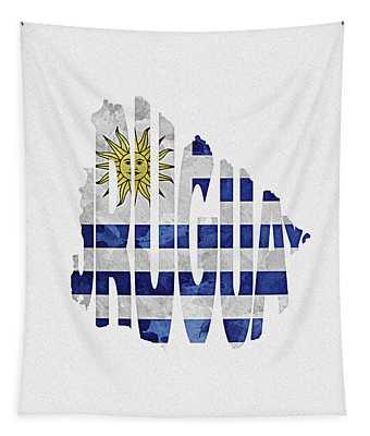 Uruguay Typographic Map Flag Tapestry