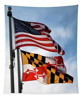 Us And Maryland Flags Tapestry
