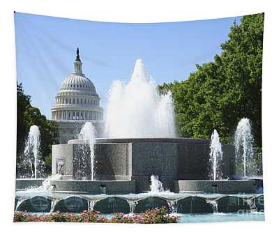 Us Capitol And Fountain In Washington Dc Tapestry