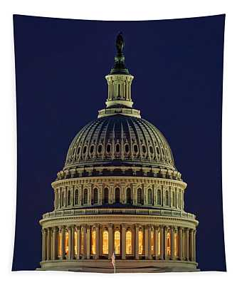 U.s. Capitol At Night Tapestry